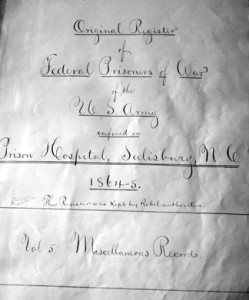Salisbury Hospital Register - title page - resized for blog